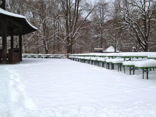 The Chinesischer Turm beer garden tables. Covered in snow, waiting for warmer weather, people, and beer & pretzels!