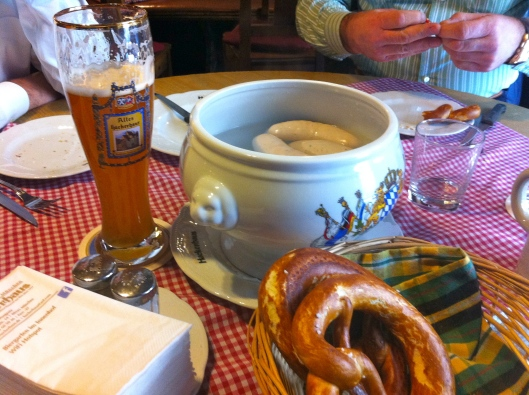 Brunch of Weisswurst, pretzels, and beer.