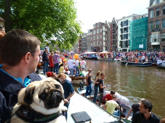 Watching a parade in Amsterdam.
