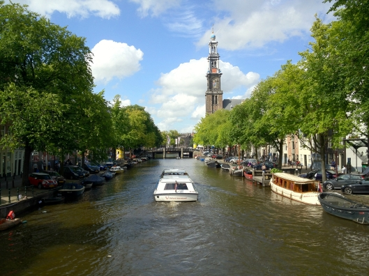 A boat on an Amsterdam canal.