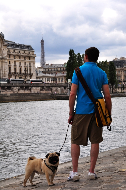Walking along the Seine.